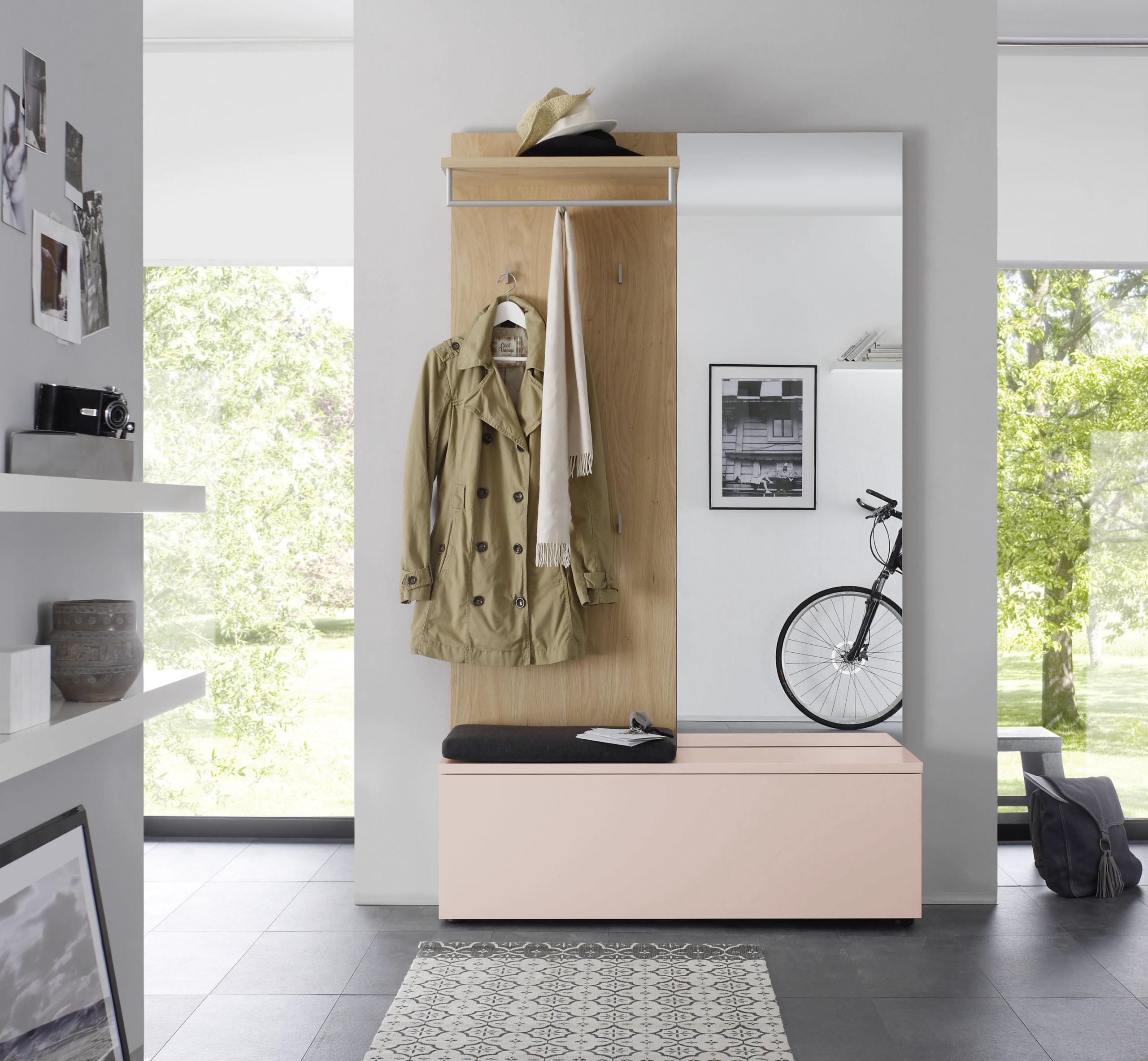Sudbrock TANDO Garderobe in der Ausführung Ethno Eiche, Lack antik rosa #481