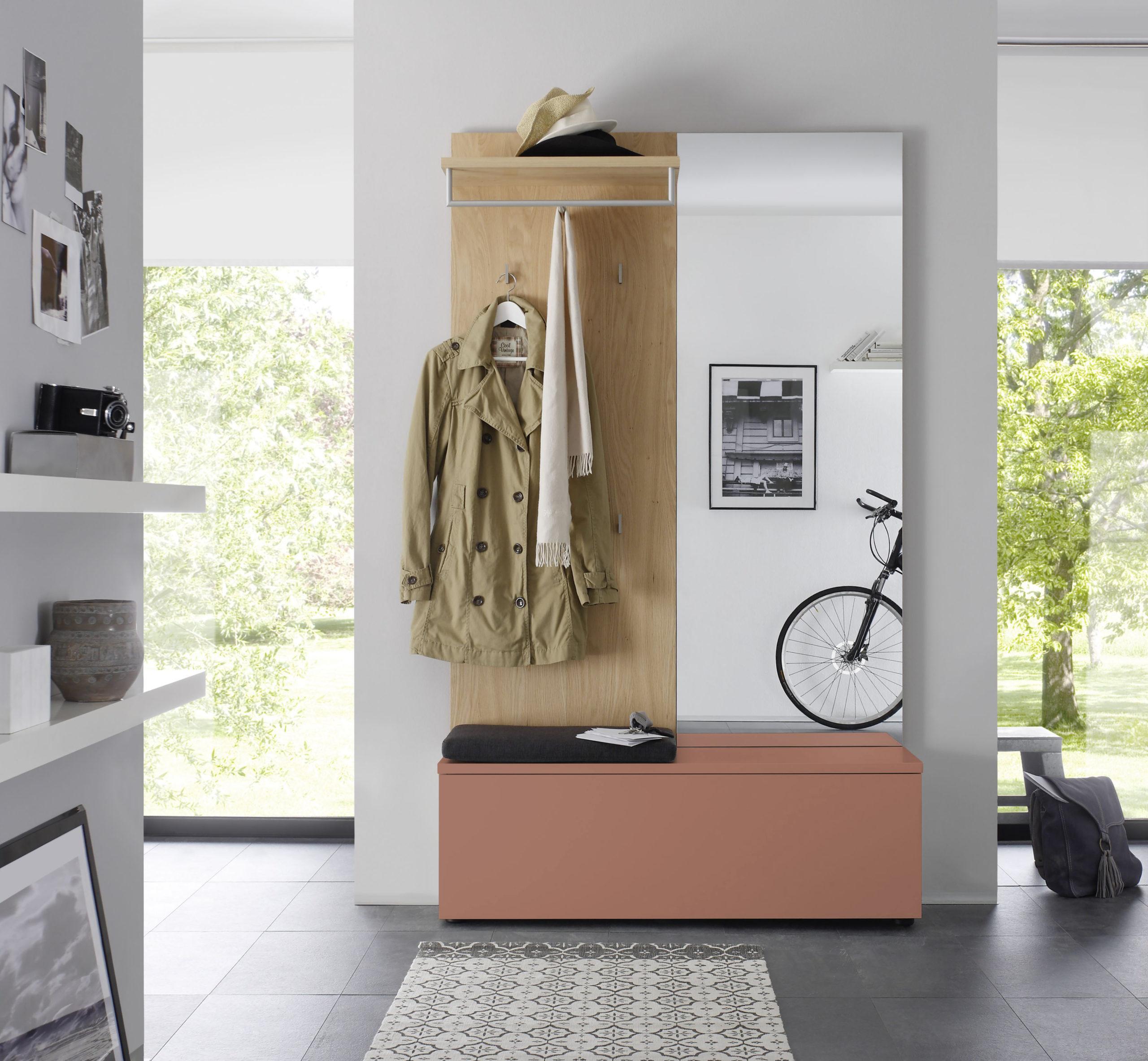 Sudbrock TANDO Garderobe in der Ausführung Ethno Eiche, Lack samtbeere #489