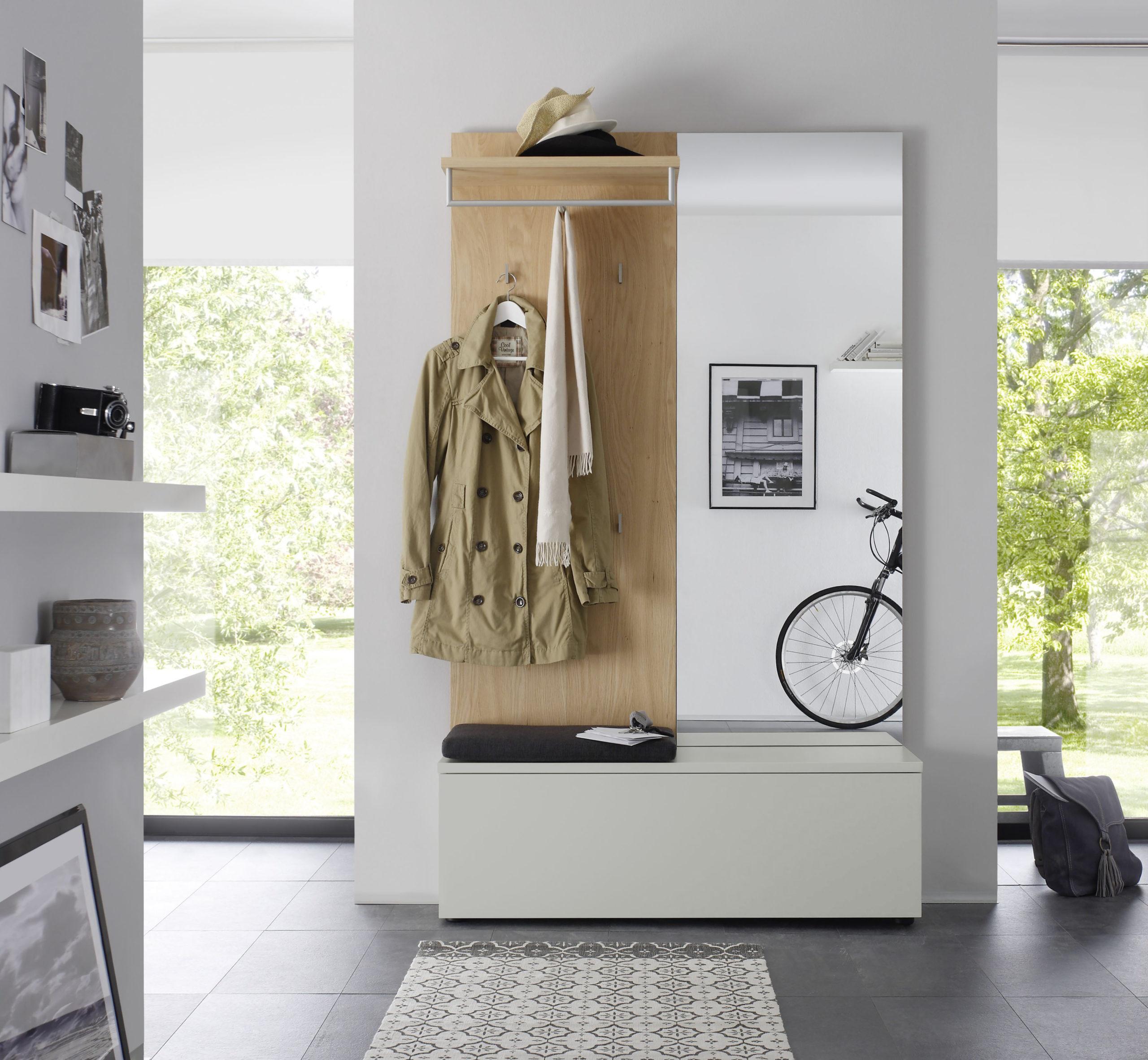 Sudbrock TANDO Garderobe in der Ausführung Ethno Eiche, Lack canagrau #494