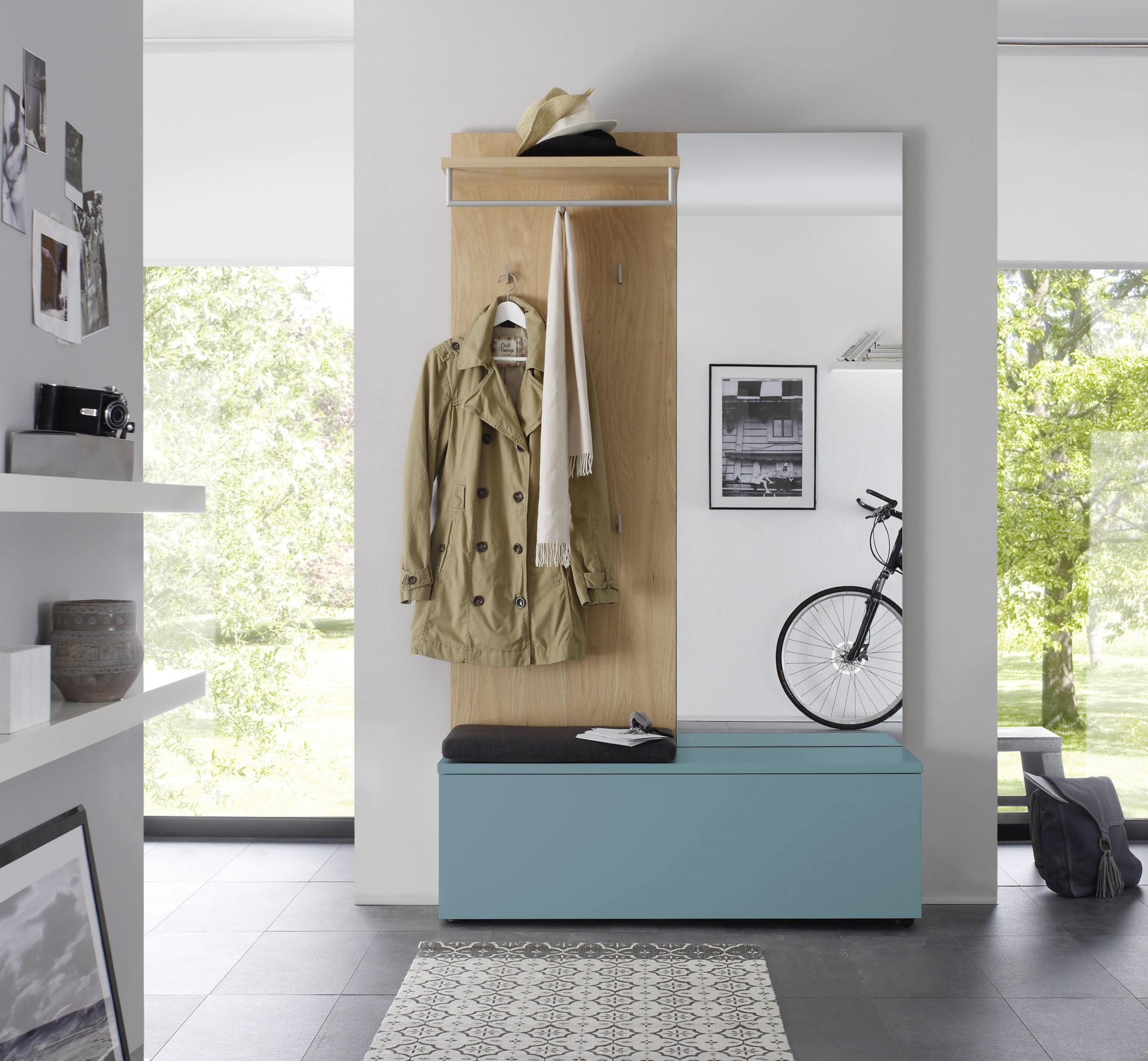 Sudbrock TANDO Garderobe in der Ausführung Ethno Eiche, Lack taubenblau #498