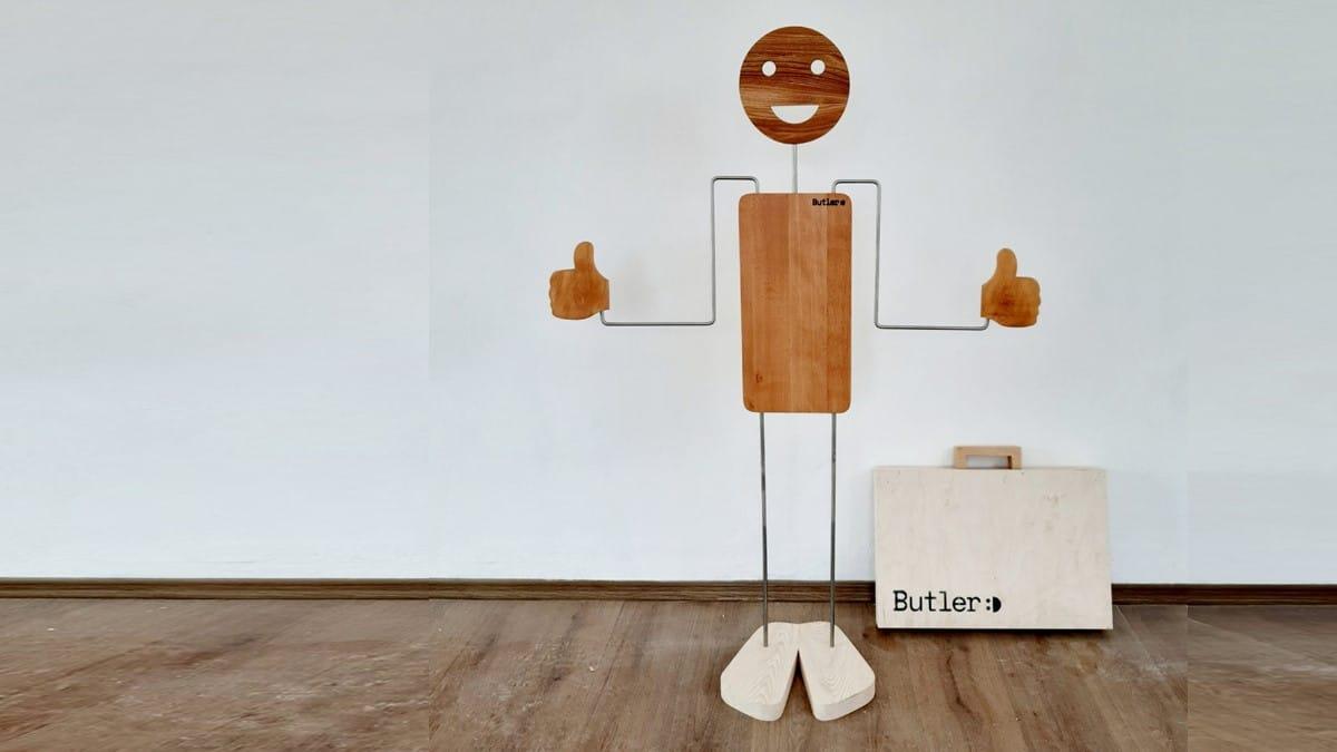 Hello Butler Herrendiener aus Massivholz im Set mit Holz-Koffer
