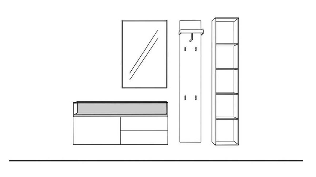 Sudbrock Garderobe KAYA 2 - technische Zeichnung