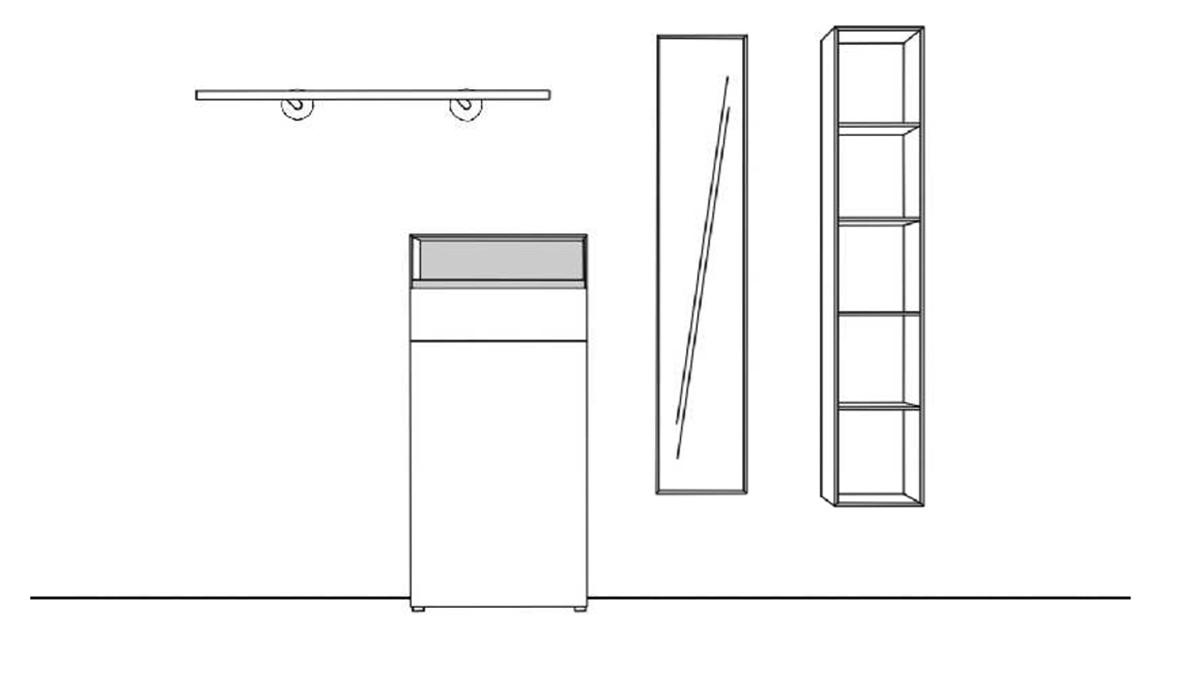 Technische Zeichnung zur Sudbrock KAYA Garderobe 3