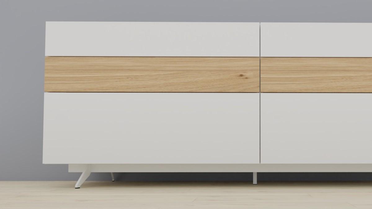 #1411 Metallgestell für NOW! Vision Sideboards in der Breite 211,3 cm. Ausführung Lack-weiß.