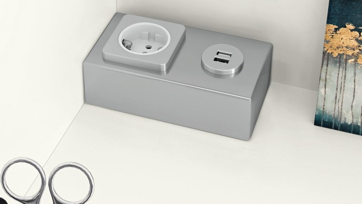 Die NOW! VISION Vorschlagskombi 980022 besitzt ein Schreibfach mit USB-Steckdosen-Set.