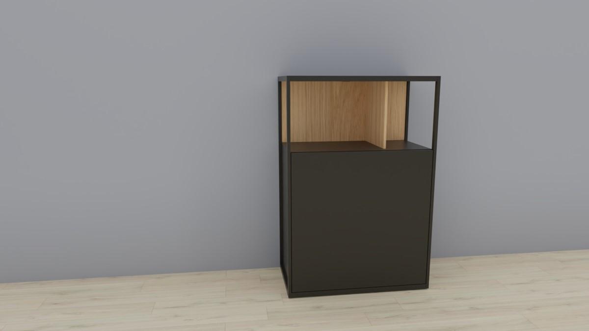 hülsta NOW! VISION Einzelmöbel 6R #16121 Front Lack-Hochglanz-grau, Akzent Natureiche