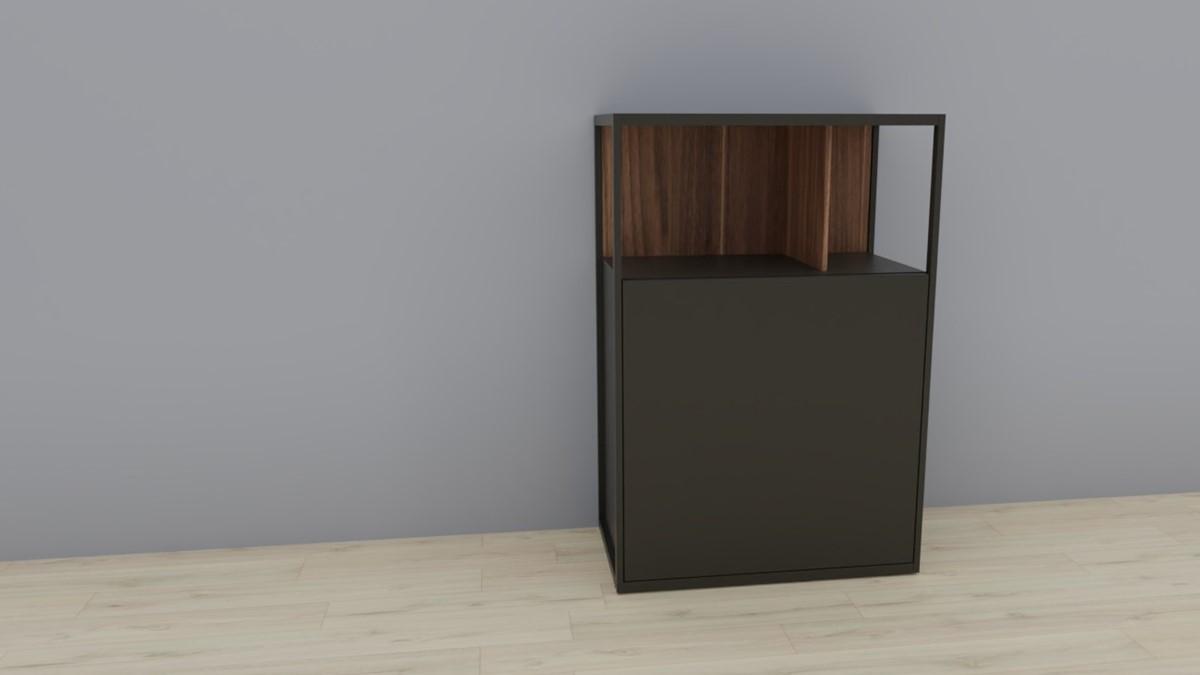 hülsta NOW! VISION Einzelmöbel 6R #16121 Front Lack-Hochglanz-grau, Akzent Kernnussbaum