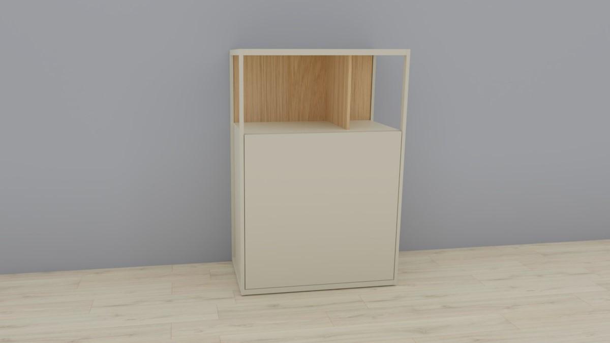 hülsta NOW! VISION Einzelmöbel 6R #16121 Front Lack-Hochglanz-seidengraugrau, Akzent Natureiche