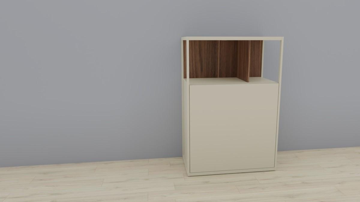 hülsta NOW! VISION Einzelmöbel 6R #16121 Front Lack-Hochglanz-seidengraugrau, Akzent Kernnussbaum
