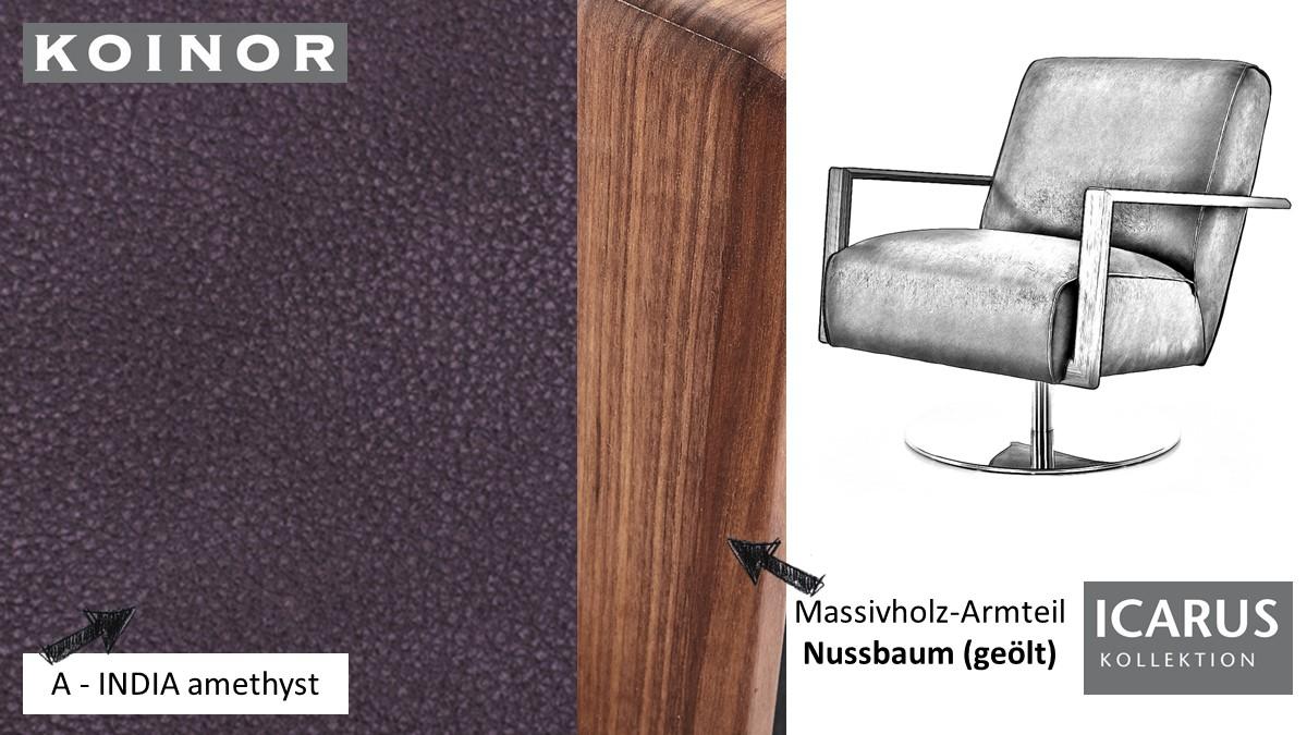 KOINOR ICARUS Sessel im Leder-Bezug A-INDIA amethyst mit Armteil in Nussbaum