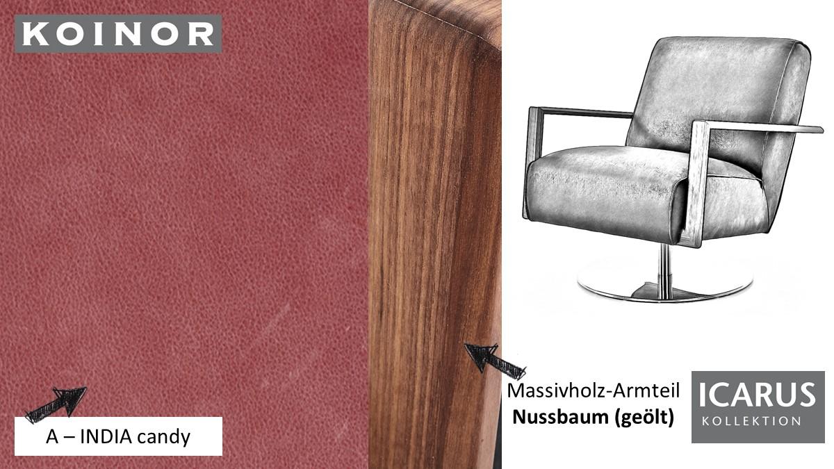 KOINOR ICARUS Sessel im Leder-Bezug A-INDIA candy mit Armteil in Nussbaum