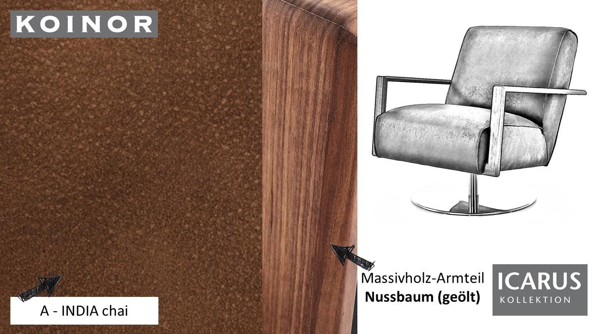 KOINOR ICARUS Sessel im Leder-Bezug A-INDIA chai mit Armteil in Nussbaum