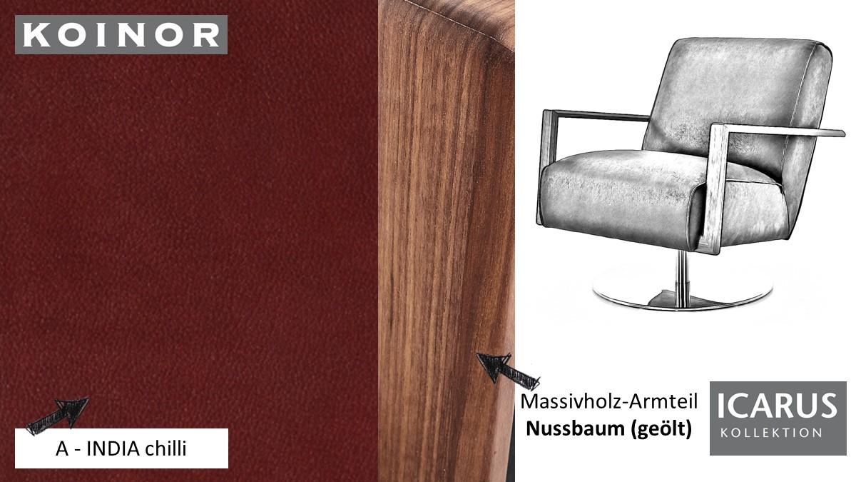 KOINOR ICARUS Sessel im Leder-Bezug A-INDIA chilli mit Armteil in Nussbaum