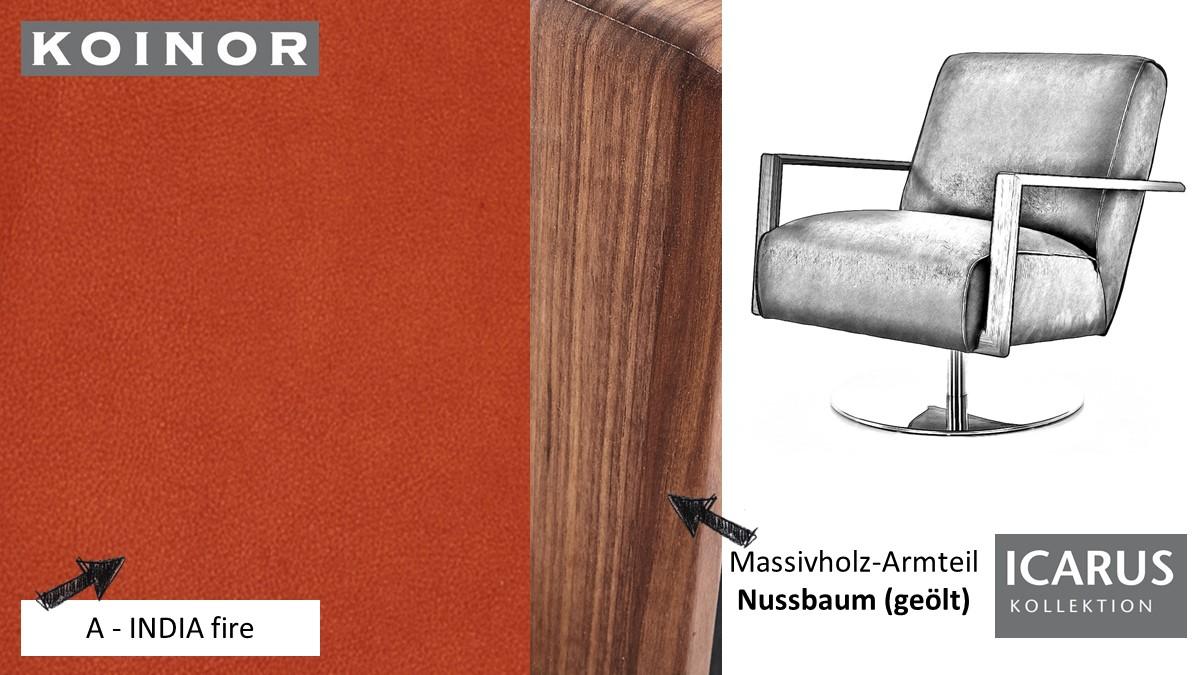 KOINOR ICARUS Sessel im Leder-Bezug A-INDIA fire mit Armteil in Nussbaum