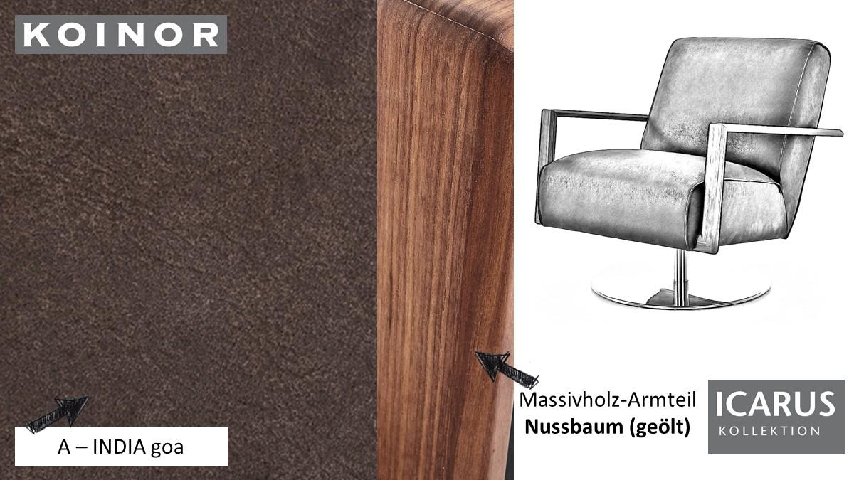 KOINOR ICARUS Sessel im Leder-Bezug A-INDIA goa mit Armteil in Nussbaum