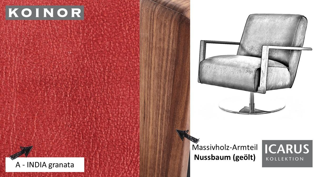 KOINOR ICARUS Sessel im Leder-Bezug A-INDIA granata mit Armteil in Nussbaum