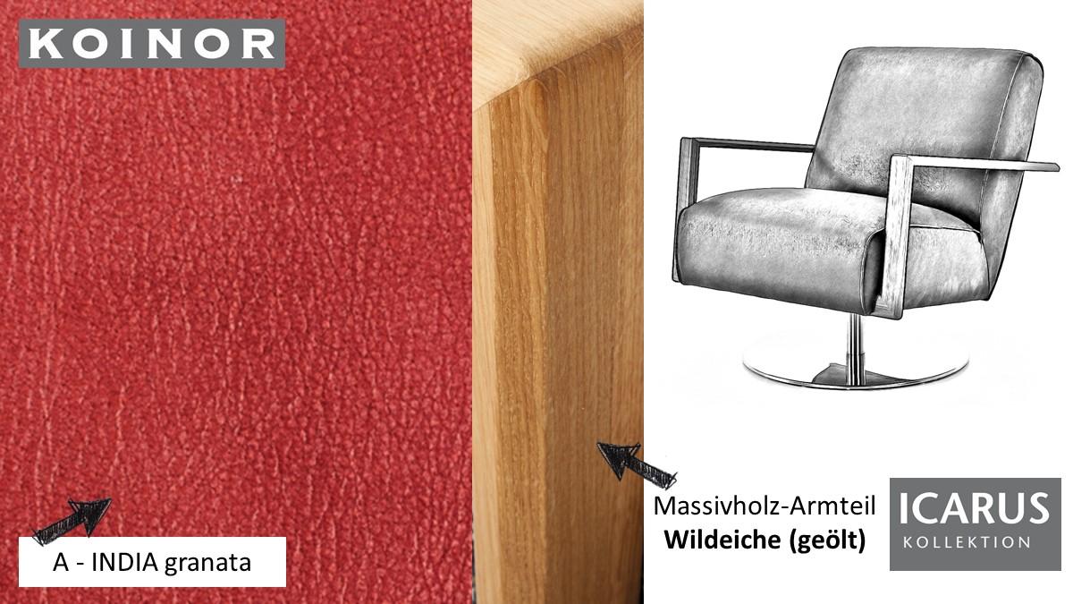 KOINOR ICARUS Sessel im Leder-Bezug A-INDIA granata mit Armteil in Wildeiche