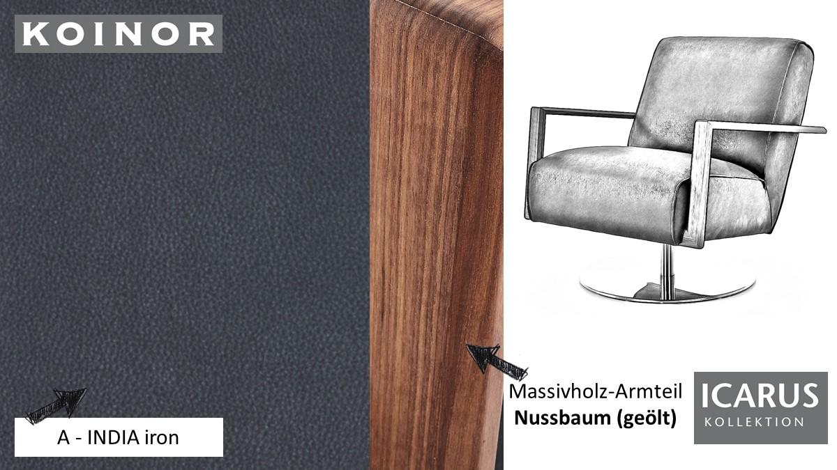 KOINOR ICARUS Sessel im Leder-Bezug A-INDIA iron mit Armteil in Nussbaum