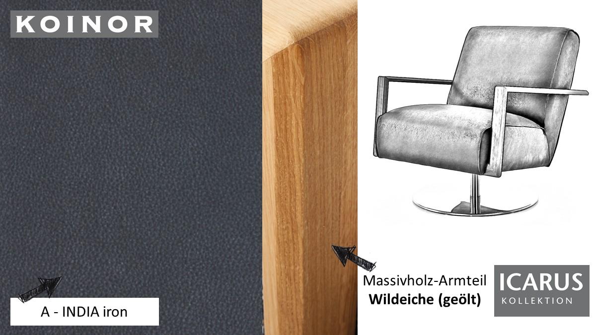 KOINOR ICARUS Sessel im Leder-Bezug A-INDIA iron mit Armteil in Wildeiche