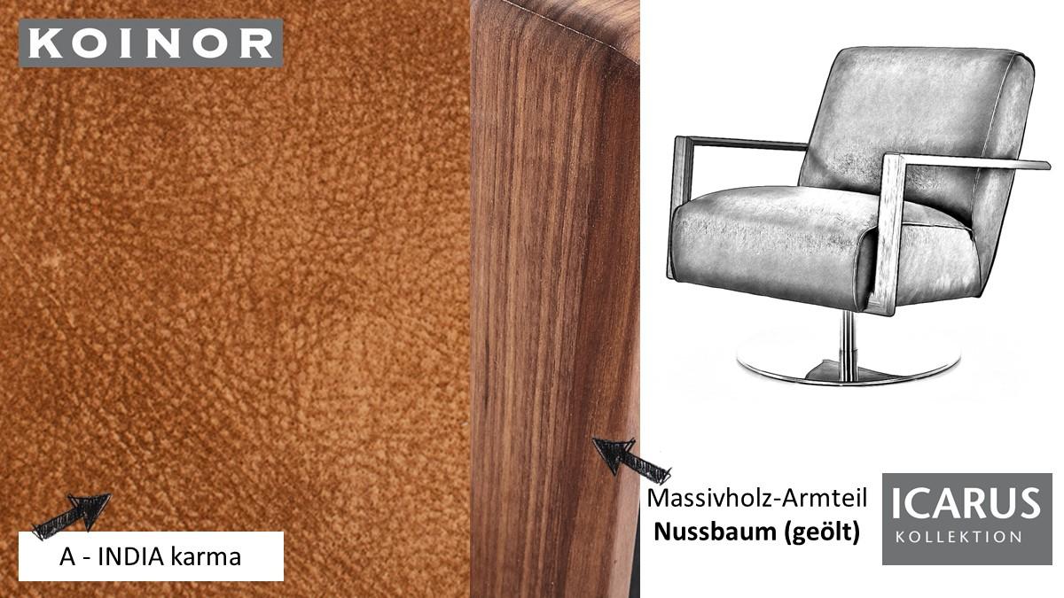 KOINOR ICARUS Sessel im Leder-Bezug A-INDIA karma mit Armteil in Nussbaum
