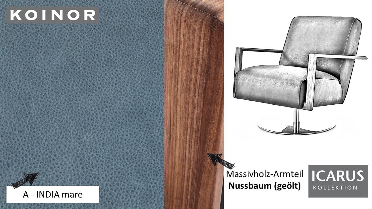 KOINOR ICARUS Sessel im Leder-Bezug A-INDIA mare mit Armteil in Nussbaum