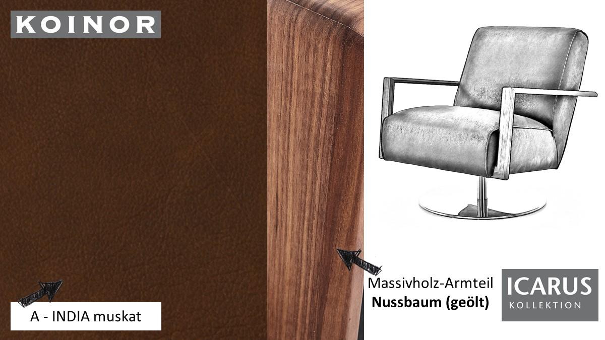 KOINOR ICARUS Sessel im Leder-Bezug A-INDIA muskat mit Armteil in Nussbaum