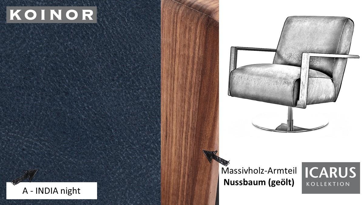 KOINOR ICARUS Sessel im Leder-Bezug A-INDIA night mit Armteil in Nussbaum