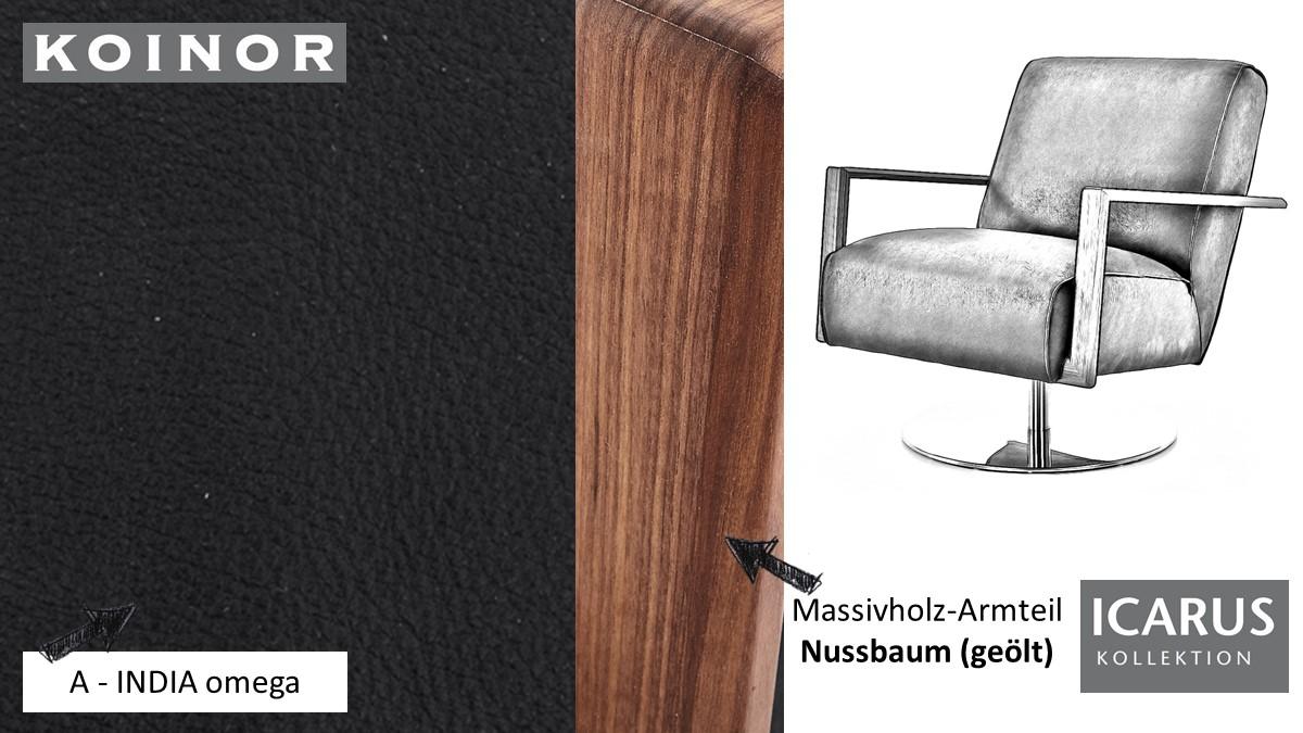 KOINOR ICARUS Sessel im Leder-Bezug A-INDIA omega mit Armteil in Nussbaum