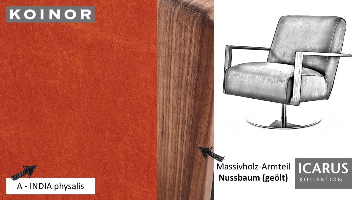KOINOR ICARUS Sessel im Leder-Bezug A-INDIA physalis mit Armteil in Nussbaum