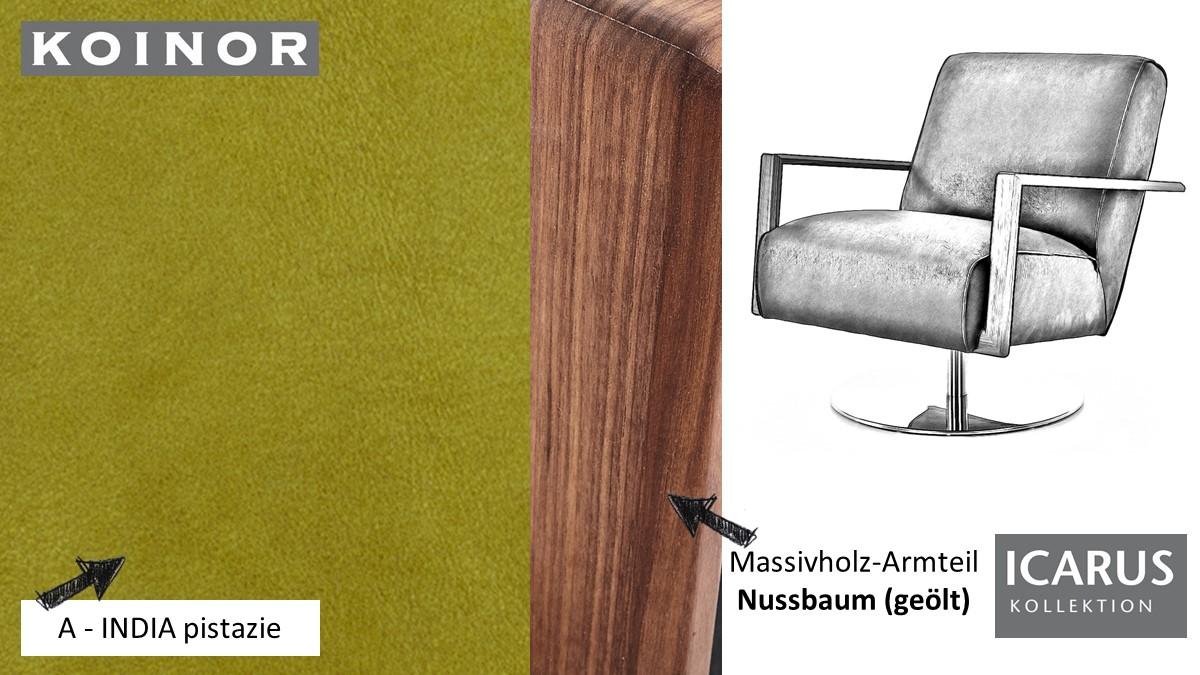 KOINOR ICARUS Sessel im Leder-Bezug A-INDIA pistazie mit Armteil in Nussbaum