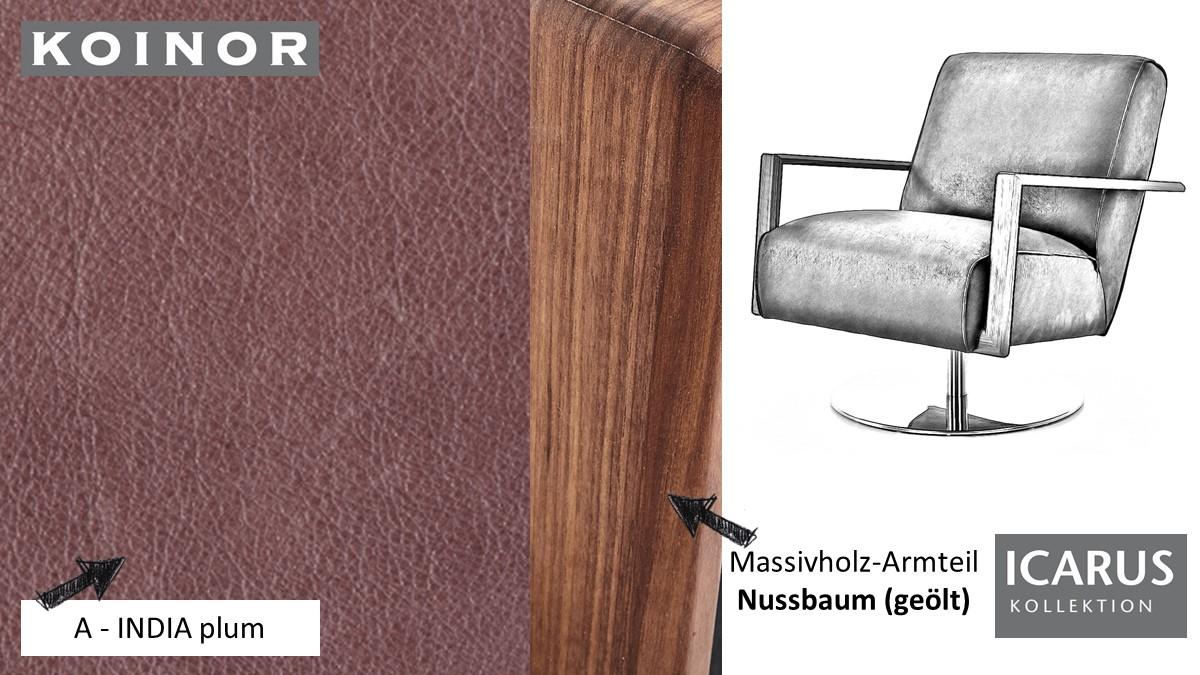 KOINOR ICARUS Sessel im Leder-Bezug A-INDIA plum mit Armteil in Nussbaum