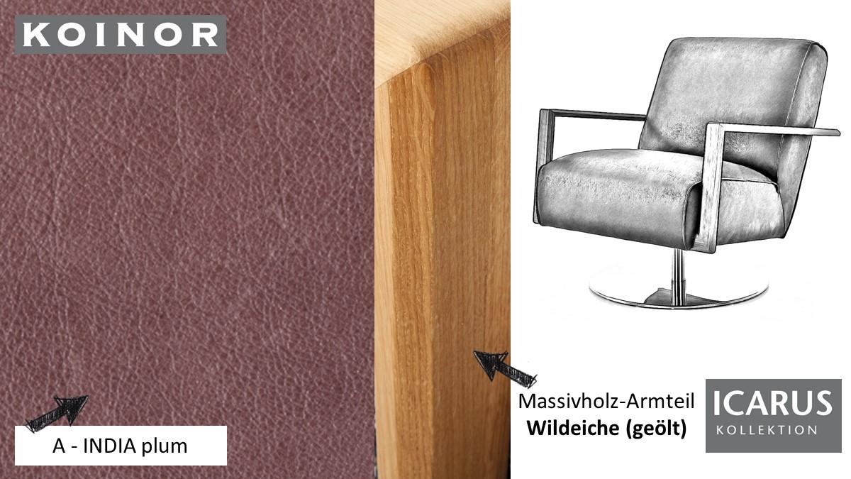 KOINOR ICARUS Sessel im Leder-Bezug A-INDIA plum mit Armteil in Wildeiche