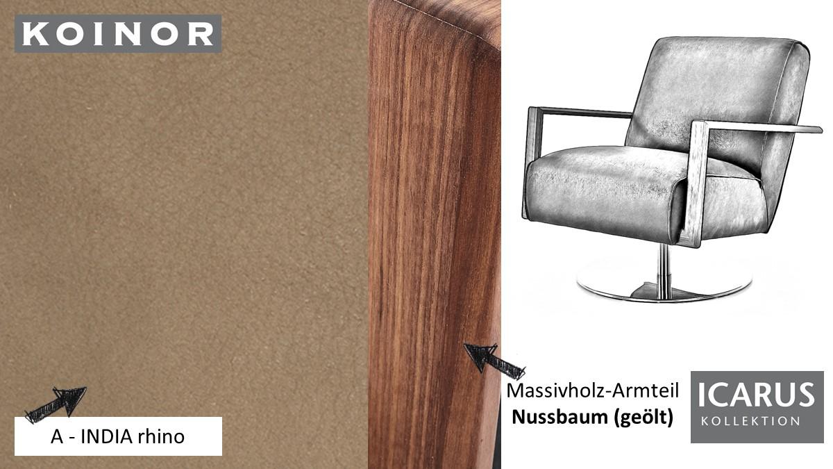 KOINOR ICARUS Sessel im Leder-Bezug A-INDIA rhino mit Armteil in Nussbaum