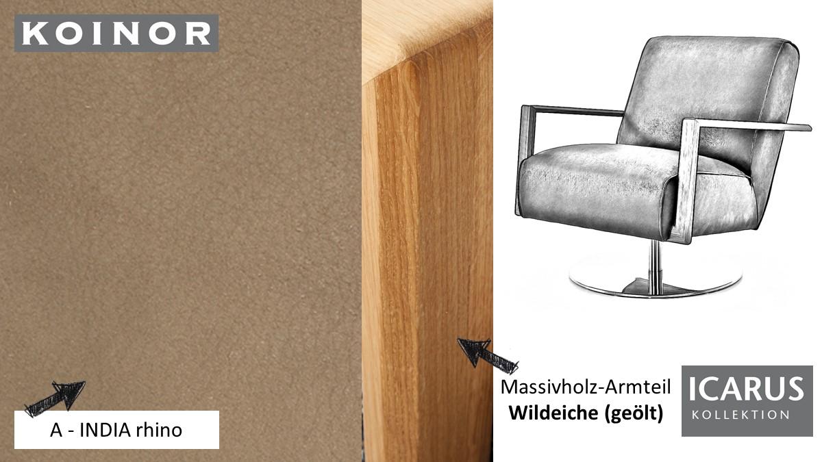 KOINOR ICARUS Sessel im Leder-Bezug A-INDIA rhino mit Armteil in Wildeiche