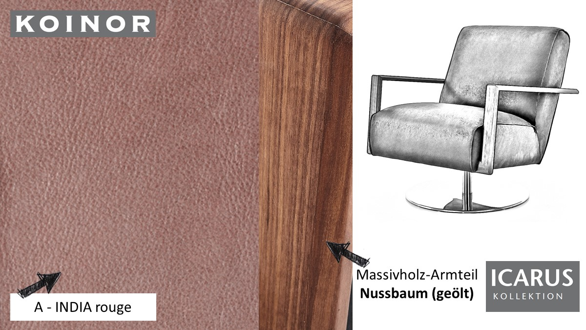 KOINOR ICARUS Sessel im Leder-Bezug A-INDIA rouge mit Armteil in Nussbaum