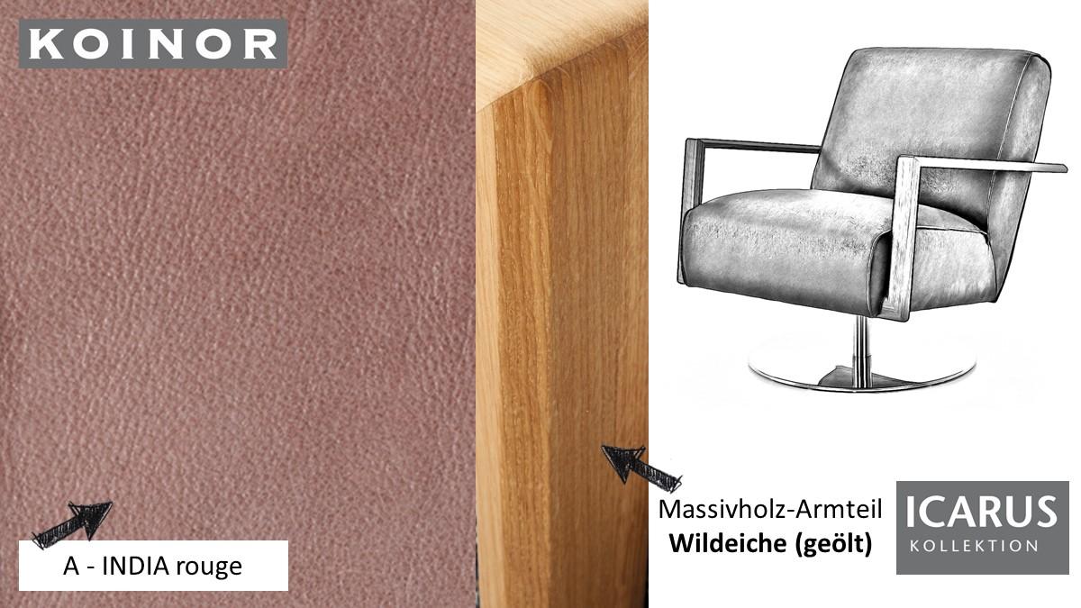 KOINOR ICARUS Sessel im Leder-Bezug A-INDIA rouge mit Armteil in Wildeiche