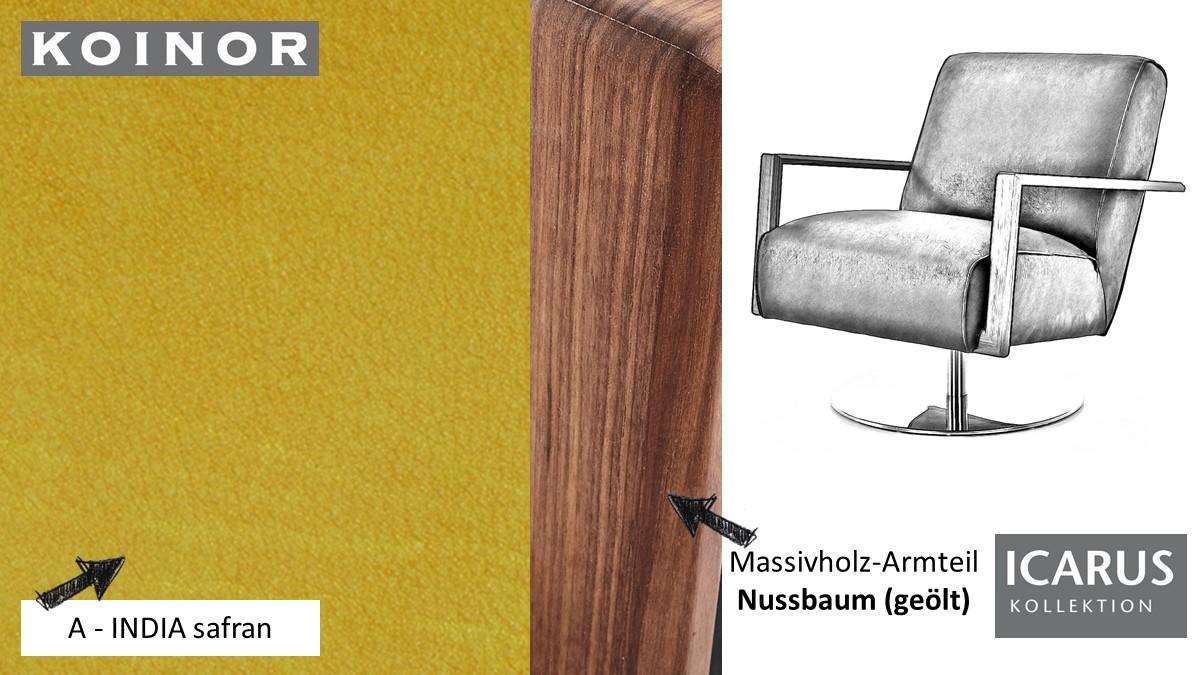 KOINOR ICARUS Sessel im Leder-Bezug A-INDIA safran mit Armteil in Nussbaum
