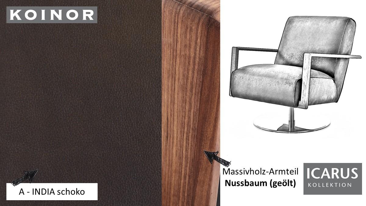 KOINOR ICARUS Sessel im Leder-Bezug A-INDIA schoko mit Armteil in Nussbaum
