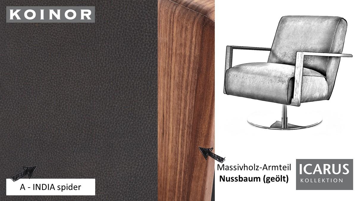 KOINOR ICARUS Sessel im Leder-Bezug A-INDIA spider mit Armteil in Nussbaum