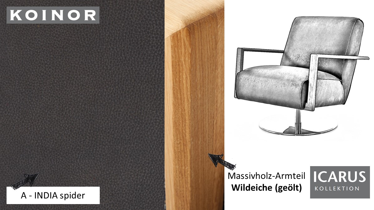 KOINOR ICARUS Sessel im Leder-Bezug A-INDIA spider mit Armteil in Wildeiche