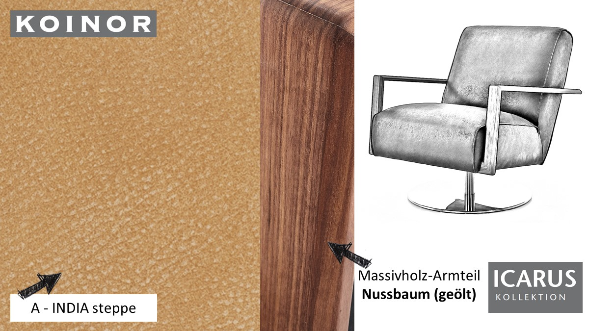 KOINOR ICARUS Sessel im Leder-Bezug A-INDIA steppe mit Armteil in Nussbaum