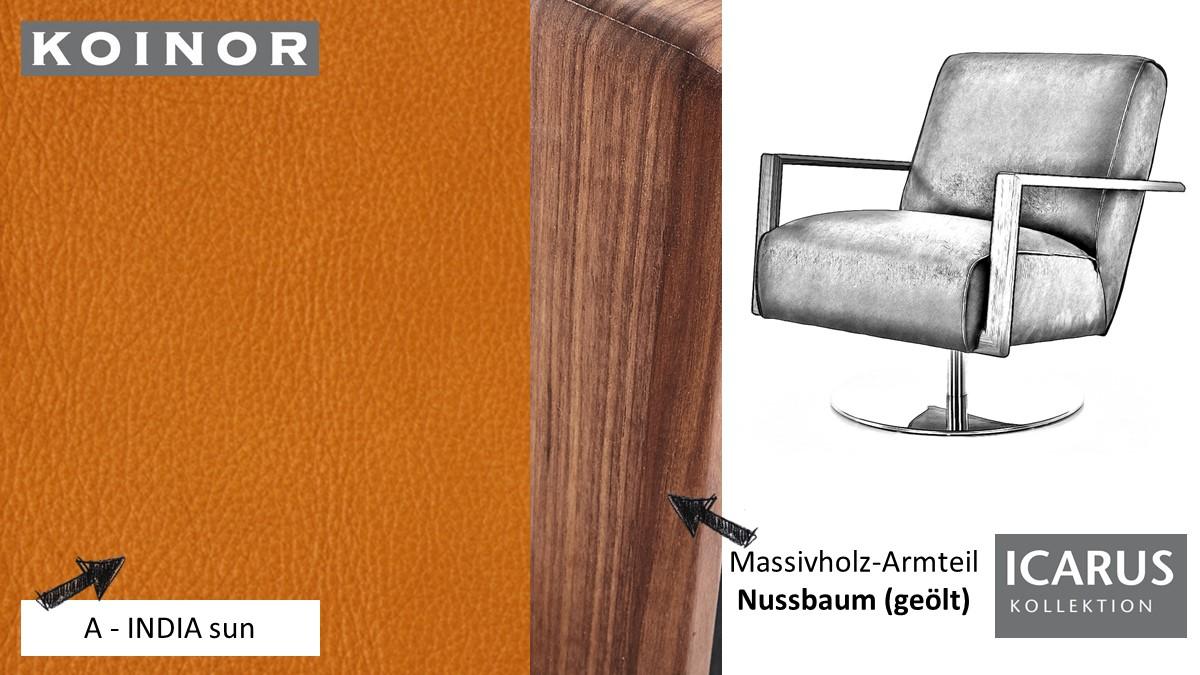 KOINOR ICARUS Sessel im Leder-Bezug A-INDIA sun mit Armteil in Nussbaum