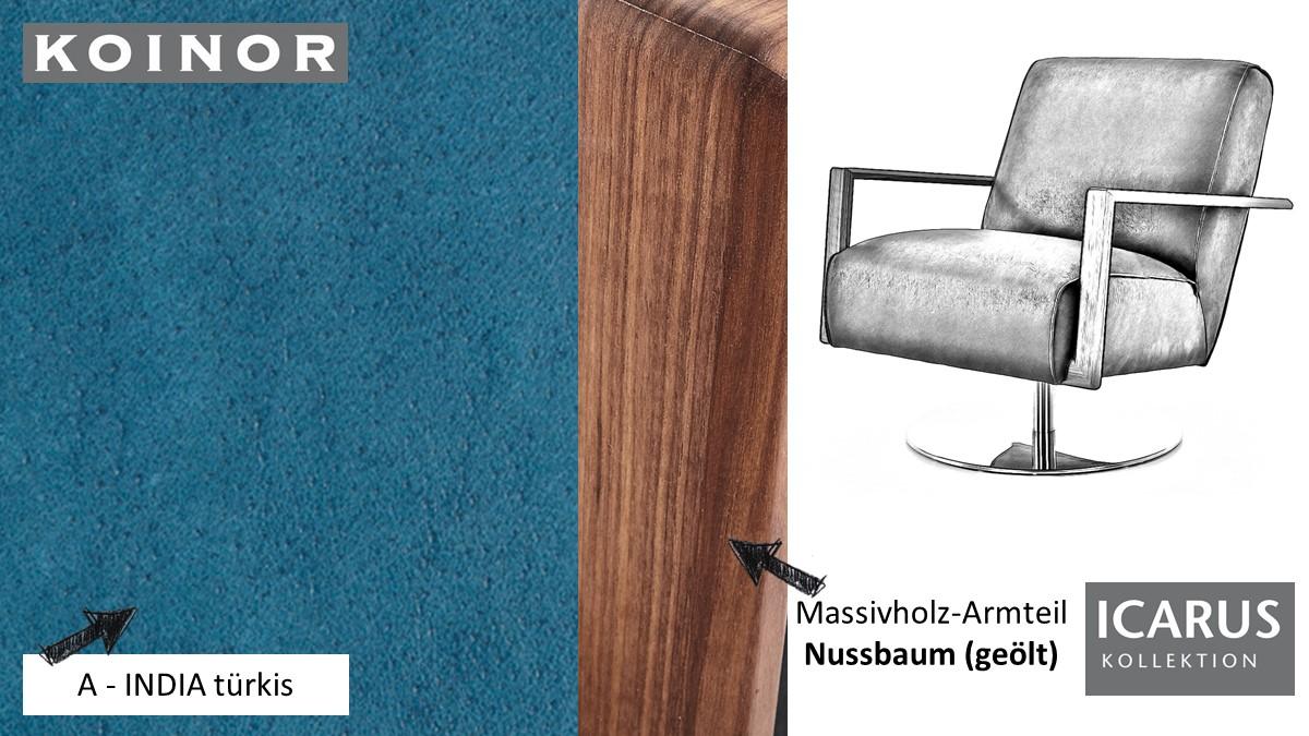 KOINOR ICARUS Sessel im Leder-Bezug A-INDIA türkis mit Armteil in Nussbaum
