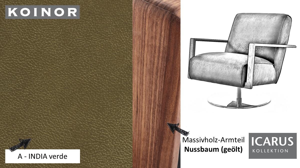 KOINOR ICARUS Sessel im Leder-Bezug A-INDIA verde mit Armteil in Nussbaum