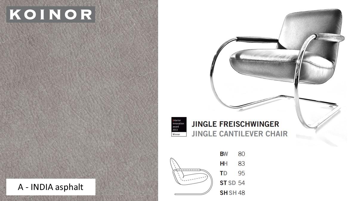 KOINOR JINGLE Freischwinger - Sessel im Leder-Bezug A - INDIA asphalt