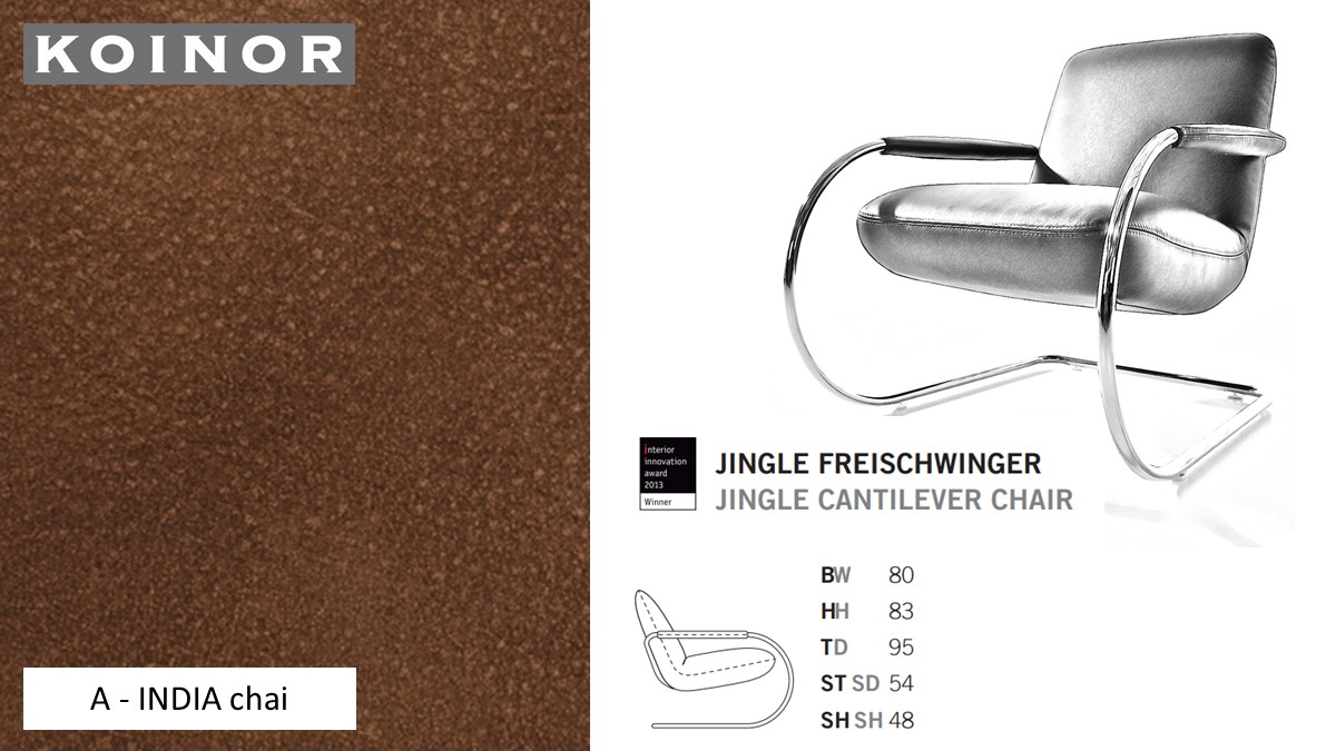 KOINOR JINGLE Freischwinger - Sessel im Leder-Bezug A - INDIA chai
