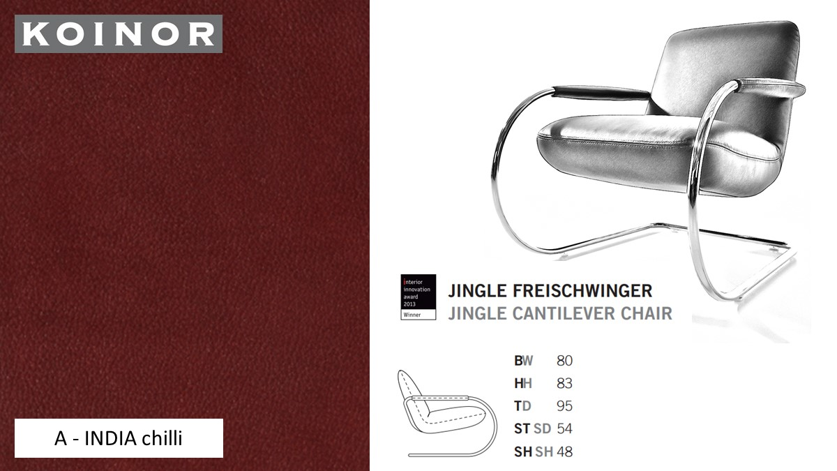 KOINOR JINGLE Freischwinger - Sessel im Leder-Bezug A - INDIA chilli