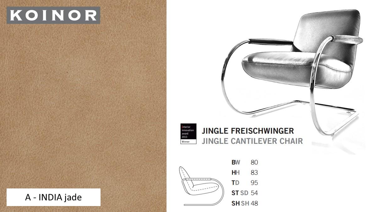 KOINOR JINGLE Freischwinger - Sessel im Leder-Bezug A - INDIA jade