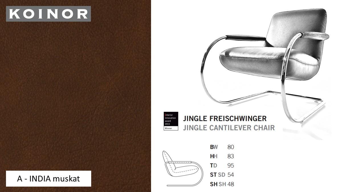 KOINOR JINGLE Freischwinger - Sessel im Leder-Bezug A - INDIA muskat