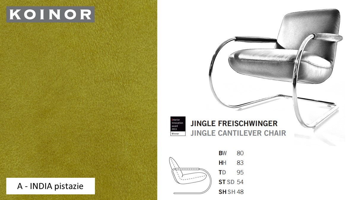 KOINOR JINGLE Freischwinger - Sessel im Leder-Bezug A - INDIA pistazie